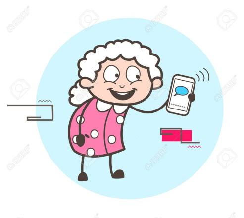 Cartoon Granny Chatting on Mobile Vector Illustration